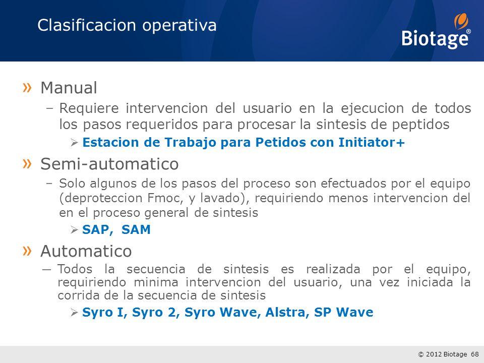 © 2012 Biotage 68 Clasificacion operativa » Manual –Requiere intervencion del usuario en la ejecucion de todos los pasos requeridos para procesar la sintesis de peptidos Estacion de Trabajo para Petidos con Initiator+ » Semi-automatico –Solo algunos de los pasos del proceso son efectuados por el equipo (deproteccion Fmoc, y lavado), requiriendo menos intervencion del en el proceso general de sintesis SAP, SAM » Automatico Todos la secuencia de sintesis es realizada por el equipo, requiriendo minima intervencion del usuario, una vez iniciada la corrida de la secuencia de sintesis Syro I, Syro 2, Syro Wave, Alstra, SP Wave