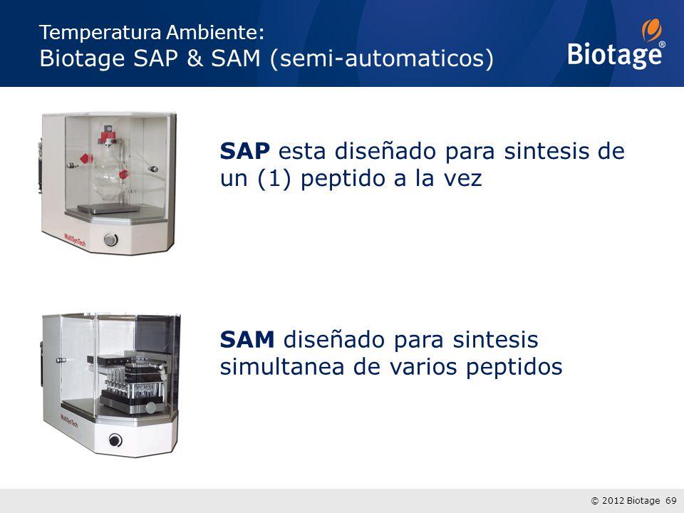© 2012 Biotage 69 Temperatura Ambiente: Biotage SAP & SAM (semi-automaticos) SAP esta diseñado para sintesis de un (1) peptido a la vez SAM diseñado p