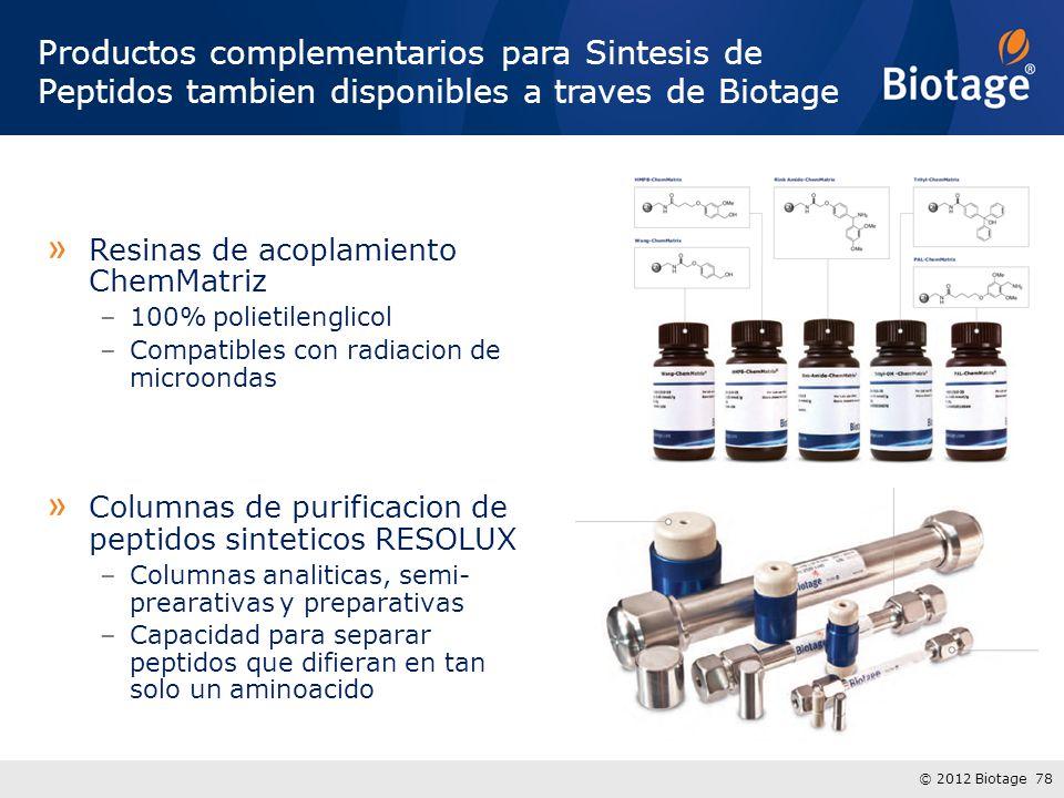 © 2012 Biotage 78 Productos complementarios para Sintesis de Peptidos tambien disponibles a traves de Biotage » Resinas de acoplamiento ChemMatriz –100% polietilenglicol –Compatibles con radiacion de microondas » Columnas de purificacion de peptidos sinteticos RESOLUX –Columnas analiticas, semi- prearativas y preparativas –Capacidad para separar peptidos que difieran en tan solo un aminoacido