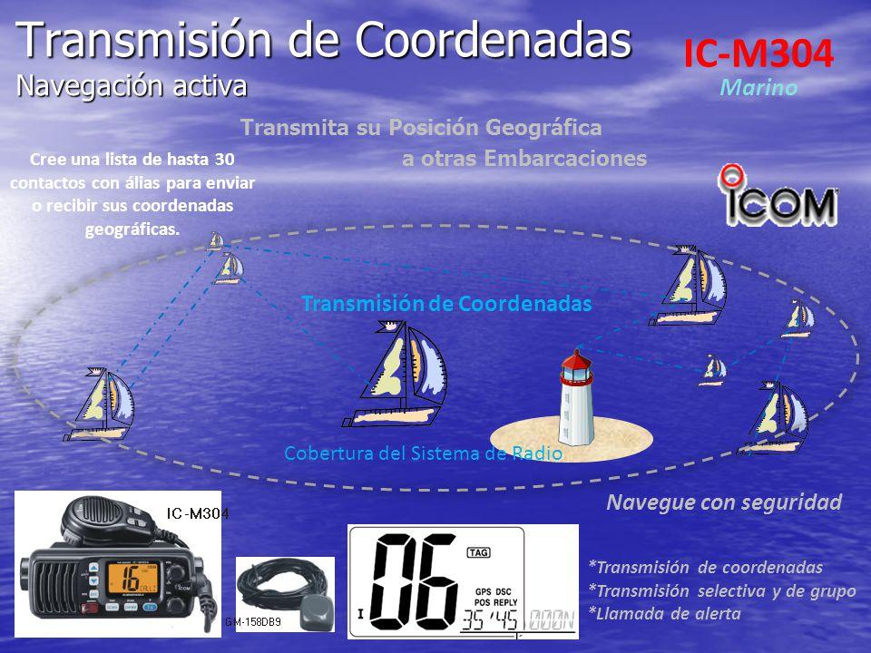 Transmisión de Coordenadas Navegación activa Transmita su Posición Geográfica a otras Embarcaciones Navegue con seguridad Transmisión de Coordenadas C