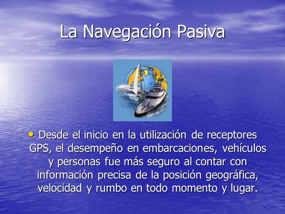 La Navegación Pasiva Desde el inicio en la utilización de receptores GPS, el desempeño en embarcaciones, vehículos y personas fue más seguro al contar