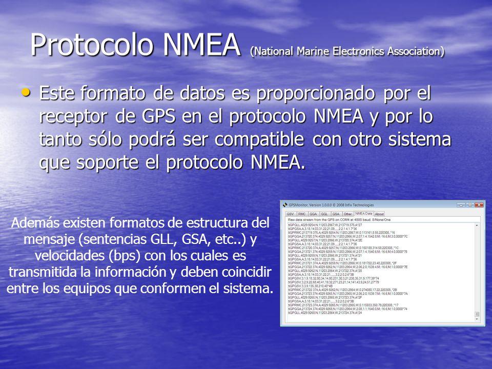 Protocolo NMEA (National Marine Electronics Association) Este formato de datos es proporcionado por el receptor de GPS en el protocolo NMEA y por lo t