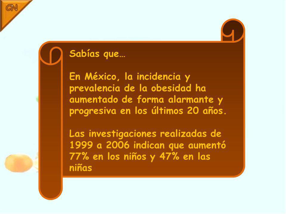 Sabías que… En México, la incidencia y prevalencia de la obesidad ha aumentado de forma alarmante y progresiva en los últimos 20 años.