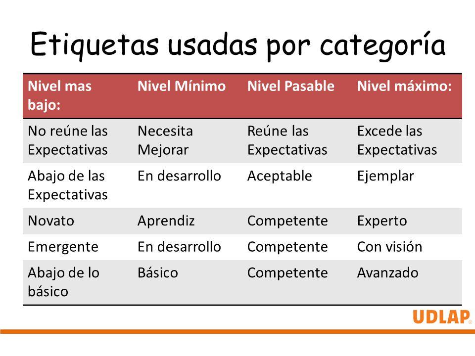 Etiquetas usadas por categoría Nivel mas bajo: Nivel MínimoNivel PasableNivel máximo: No reúne las Expectativas Necesita Mejorar Reúne las Expectativa