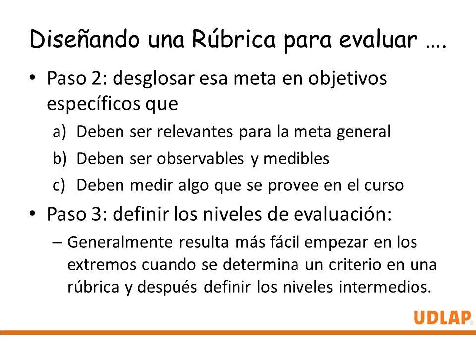 Diseñando una Rúbrica para evaluar …. Paso 2: desglosar esa meta en objetivos específicos que a)Deben ser relevantes para la meta general b)Deben ser