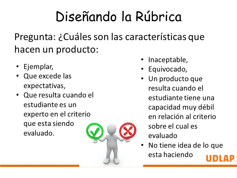 Diseñando la Rúbrica Pregunta: ¿Cuáles son las características que hacen un producto: Inaceptable, Equivocado, Un producto que resulta cuando el estud