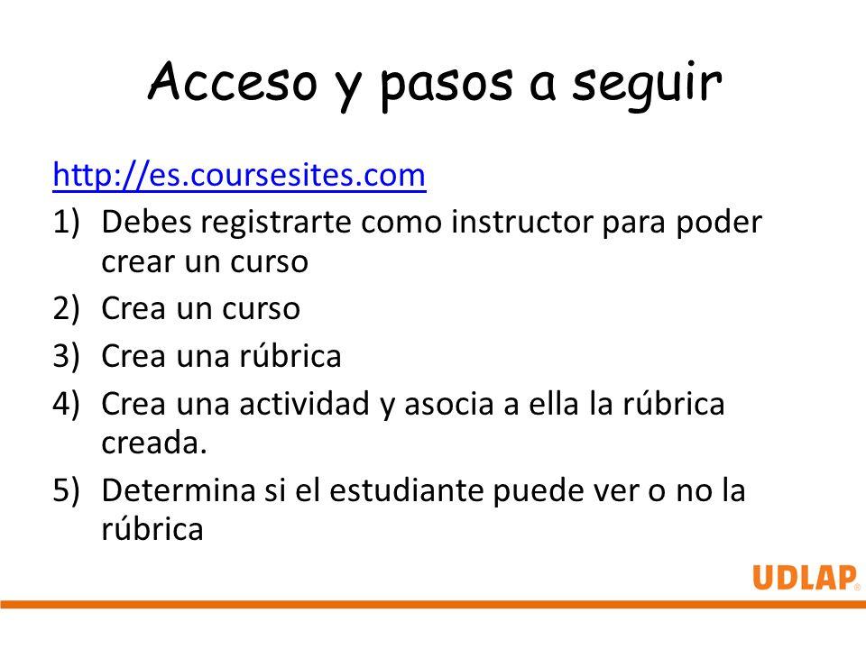 Acceso y pasos a seguir http://es.coursesites.com 1)Debes registrarte como instructor para poder crear un curso 2)Crea un curso 3)Crea una rúbrica 4)C