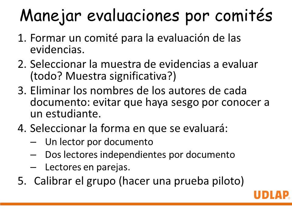 Manejar evaluaciones por comités 1.Formar un comité para la evaluación de las evidencias. 2.Seleccionar la muestra de evidencias a evaluar (todo? Mues