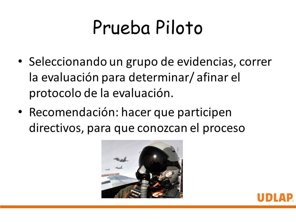 Prueba Piloto Seleccionando un grupo de evidencias, correr la evaluación para determinar/ afinar el protocolo de la evaluación. Recomendación: hacer q