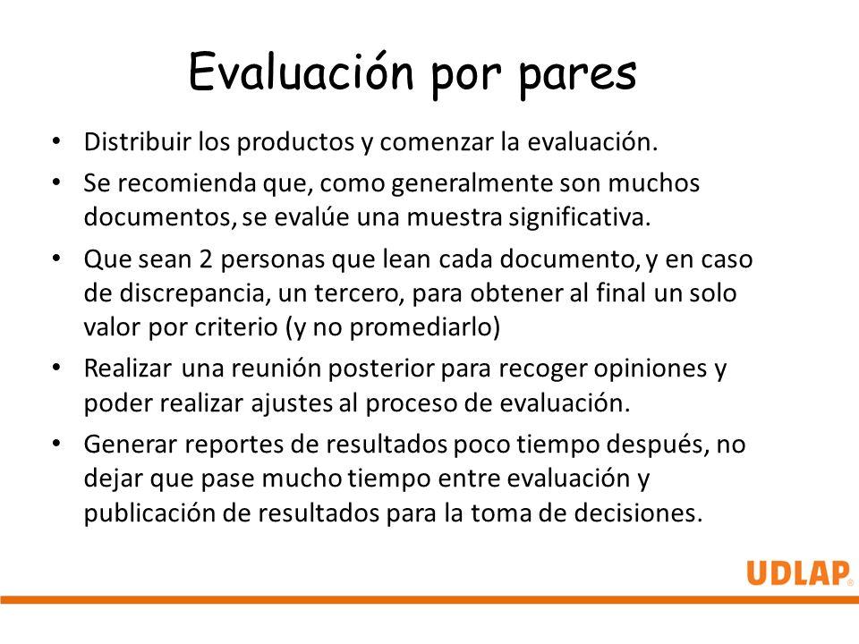 Evaluación por pares Distribuir los productos y comenzar la evaluación. Se recomienda que, como generalmente son muchos documentos, se evalúe una mues