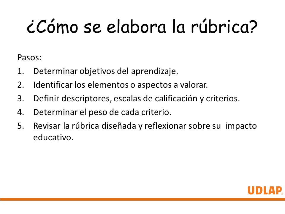 ¿Cómo se elabora la rúbrica? Pasos: 1.Determinar objetivos del aprendizaje. 2.Identificar los elementos o aspectos a valorar. 3.Definir descriptores,