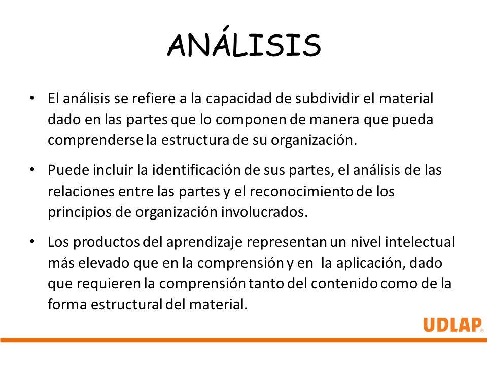 ANÁLISIS El análisis se refiere a la capacidad de subdividir el material dado en las partes que lo componen de manera que pueda comprenderse la estruc