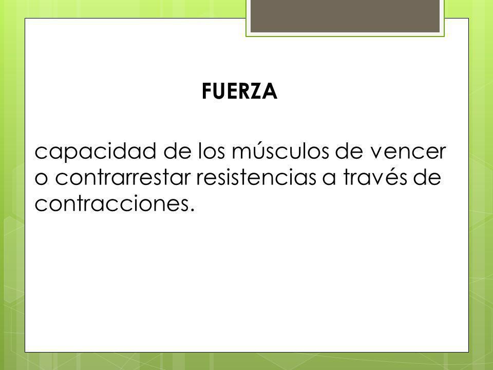 FUERZA capacidad de los músculos de vencer o contrarrestar resistencias a través de contracciones.