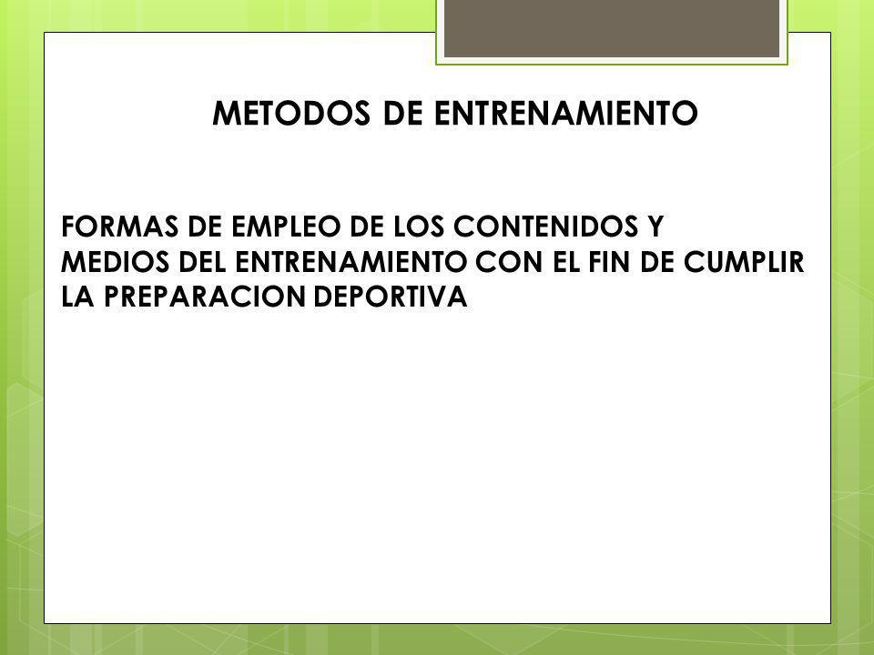 METODOS DE ENTRENAMIENTO FORMAS DE EMPLEO DE LOS CONTENIDOS Y MEDIOS DEL ENTRENAMIENTO CON EL FIN DE CUMPLIR LA PREPARACION DEPORTIVA