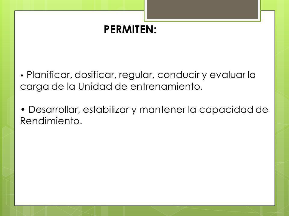 PERMITEN: Planificar, dosificar, regular, conducir y evaluar la carga de la Unidad de entrenamiento.