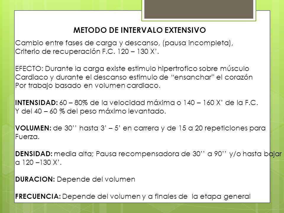METODO DE INTERVALO EXTENSIVO Cambio entre fases de carga y descanso, (pausa incompleta), Criterio de recuperación F.C. 120 – 130 X. EFECTO: Durante l