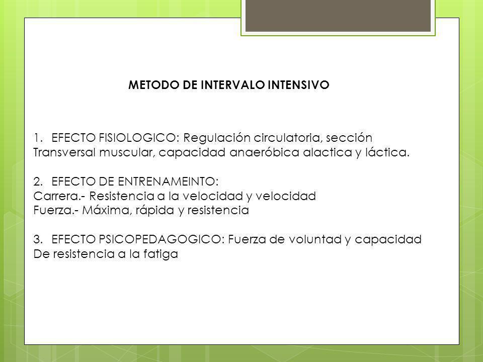 METODO DE INTERVALO INTENSIVO 1.EFECTO FISIOLOGICO: Regulación circulatoria, sección Transversal muscular, capacidad anaeróbica alactica y láctica. 2.