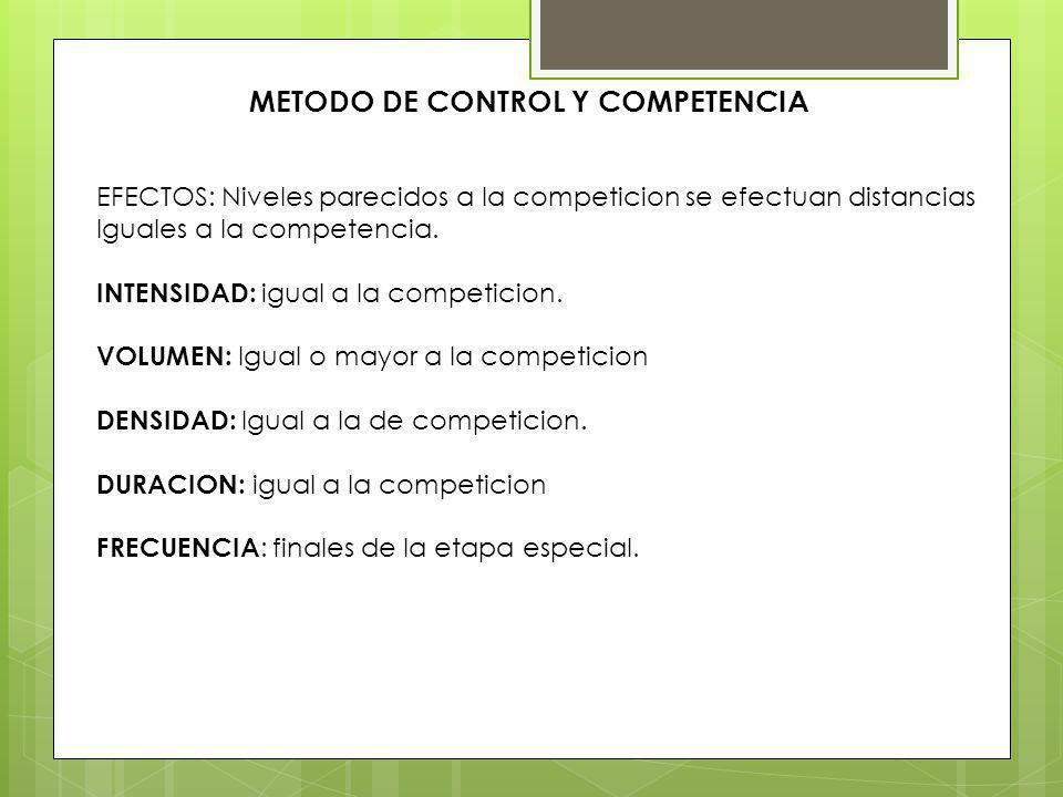 METODO DE CONTROL Y COMPETENCIA EFECTOS: Niveles parecidos a la competicion se efectuan distancias Iguales a la competencia. INTENSIDAD: igual a la co