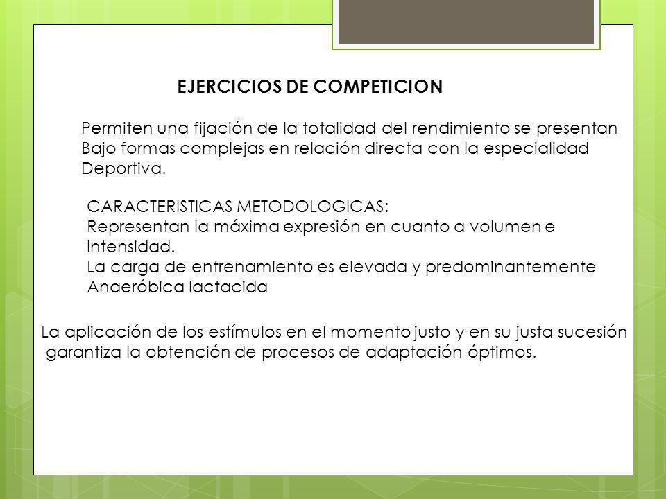 EJERCICIOS DE COMPETICION Permiten una fijación de la totalidad del rendimiento se presentan Bajo formas complejas en relación directa con la especialidad Deportiva.