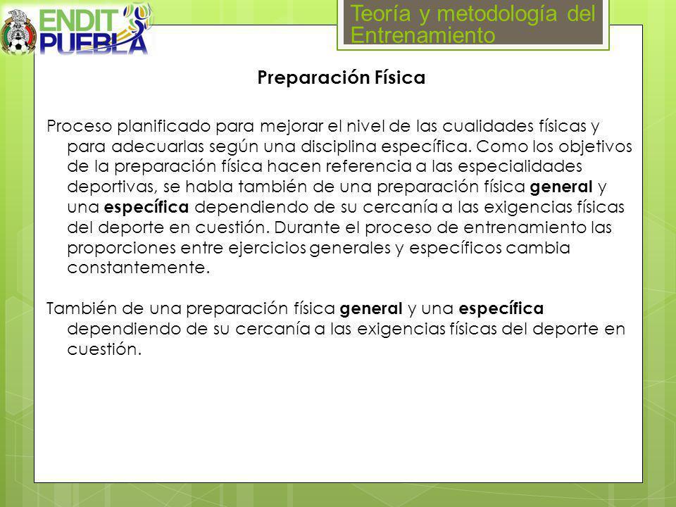 Teoría y metodología del Entrenamiento Preparación Física Proceso planificado para mejorar el nivel de las cualidades físicas y para adecuarlas según