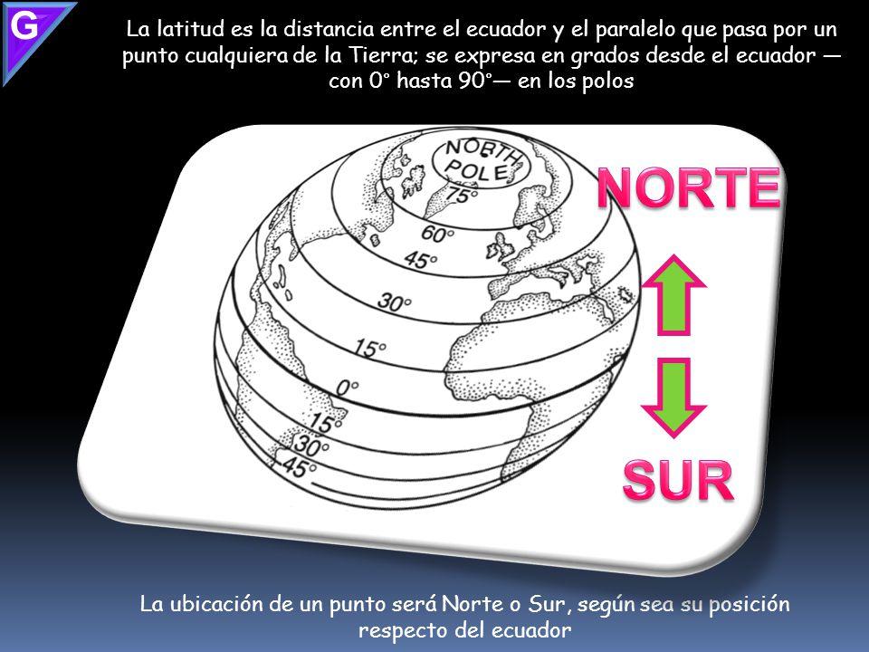 Para ubicar un lugar en la superficie del planeta tenemos que ver en el mapa las coordenadas geográficas Latitud norte