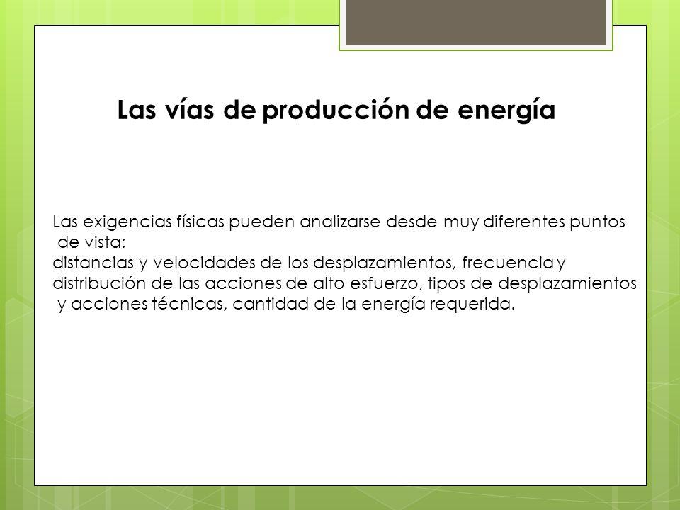 Las vías de producción de energía Las exigencias físicas pueden analizarse desde muy diferentes puntos de vista: distancias y velocidades de los desplazamientos, frecuencia y distribución de las acciones de alto esfuerzo, tipos de desplazamientos y acciones técnicas, cantidad de la energía requerida.