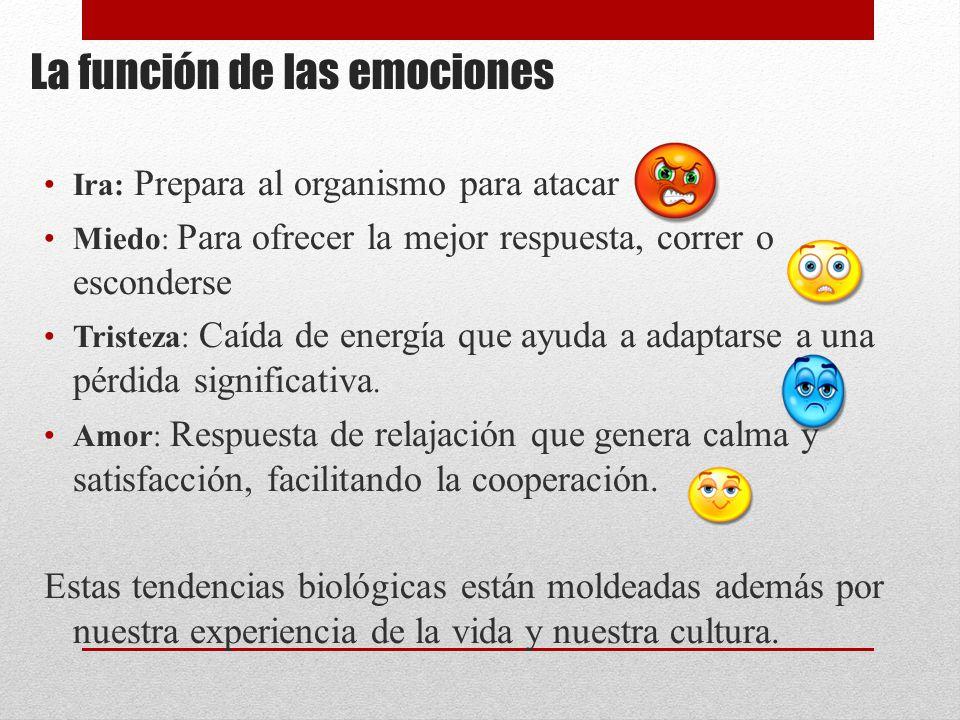 La función de las emociones Ira: Prepara al organismo para atacar Miedo: Para ofrecer la mejor respuesta, correr o esconderse Tristeza: Caída de energía que ayuda a adaptarse a una pérdida significativa.