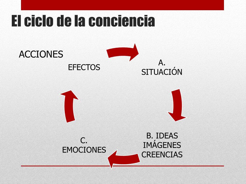 El ciclo de la conciencia A. SITUACIÓN B. IDEAS IMÁGENES CREENCIAS C. EMOCIONES EFECTOS ACCIONES