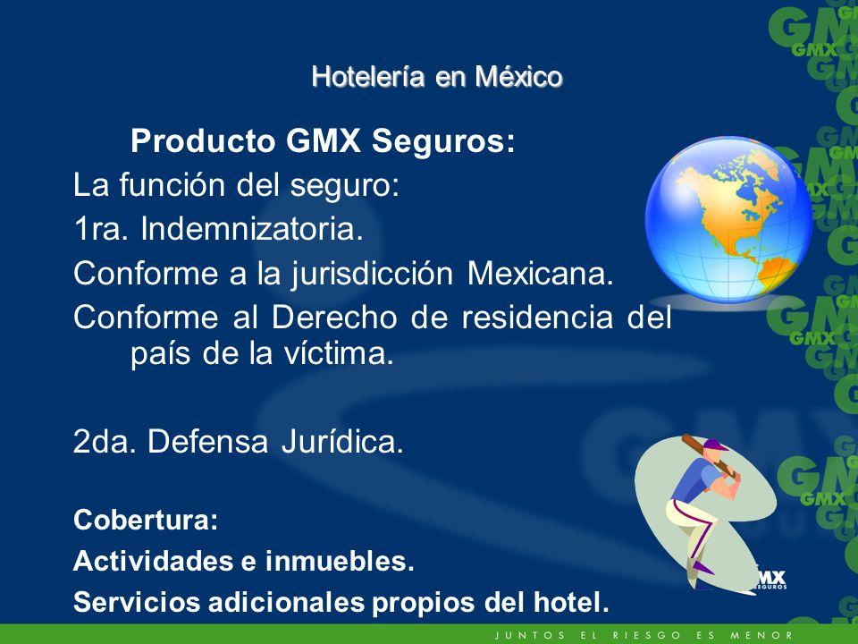 Hotelería en México Producto GMX Seguros: La función del seguro: 1ra.
