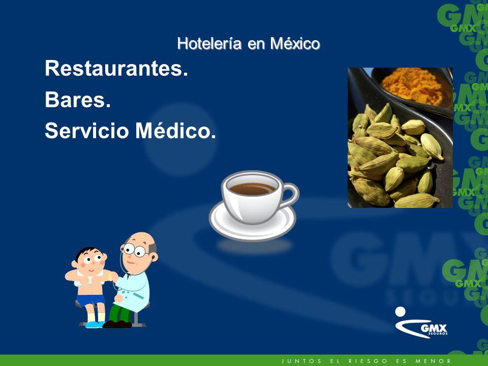 Restaurantes. Bares. Servicio Médico. Hotelería en México