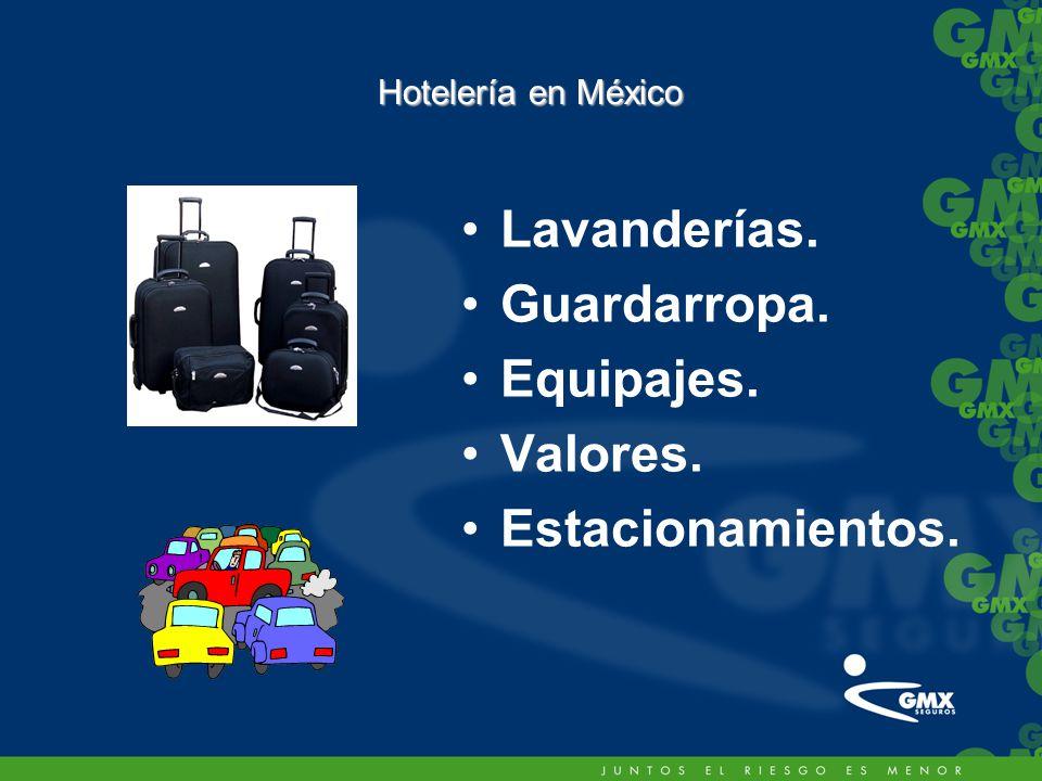 Lavanderías. Guardarropa. Equipajes. Valores. Estacionamientos. Hotelería en México
