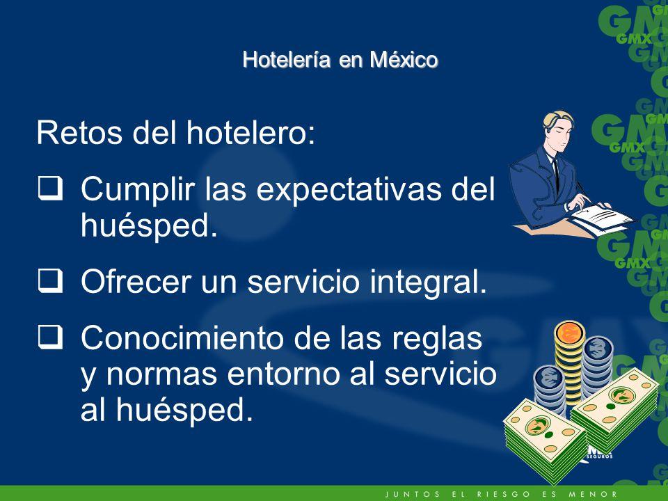 Hotelería en México Retos del hotelero: Cumplir las expectativas del huésped.