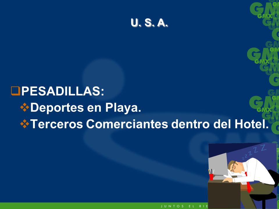 PESADILLAS: Deportes en Playa. Terceros Comerciantes dentro del Hotel. U. S. A. U. S. A.