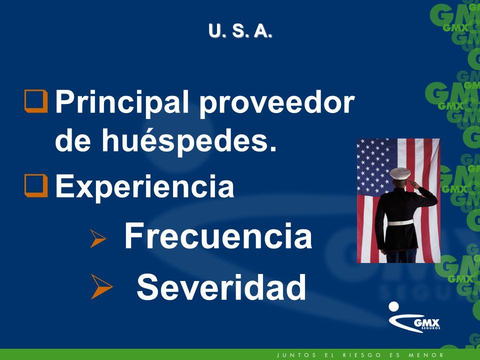 U. S. A. Principal proveedor de huéspedes. Experiencia Frecuencia Severidad