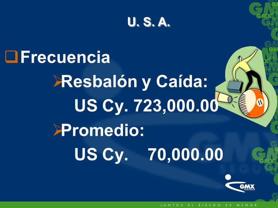 Frecuencia Resbalón y Caída: US Cy. 723,000.00 Promedio: US Cy. 70,000.00 U. S. A. U. S. A.
