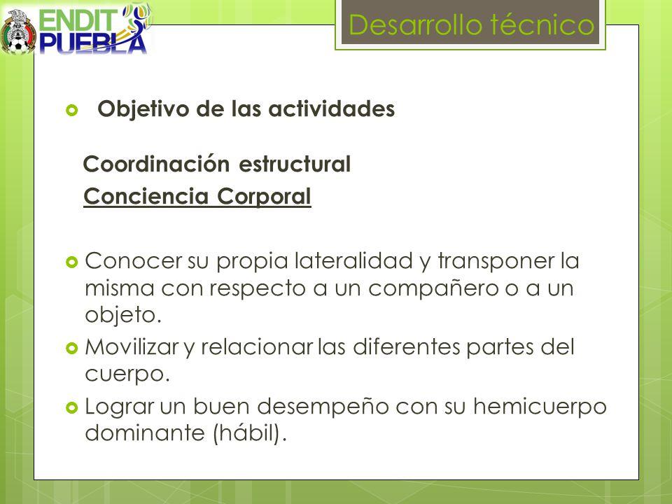 Desarrollo técnico Objetivo de las actividades Coordinación estructural Conciencia Corporal Conocer su propia lateralidad y transponer la misma con respecto a un compañero o a un objeto.