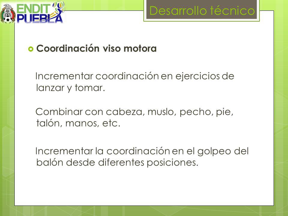 Desarrollo técnico Coordinación viso motora Incrementar coordinación en ejercicios de lanzar y tomar.
