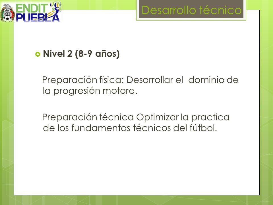 Desarrollo técnico Nivel 2 (8-9 años) Preparación física: Desarrollar el dominio de la progresión motora.