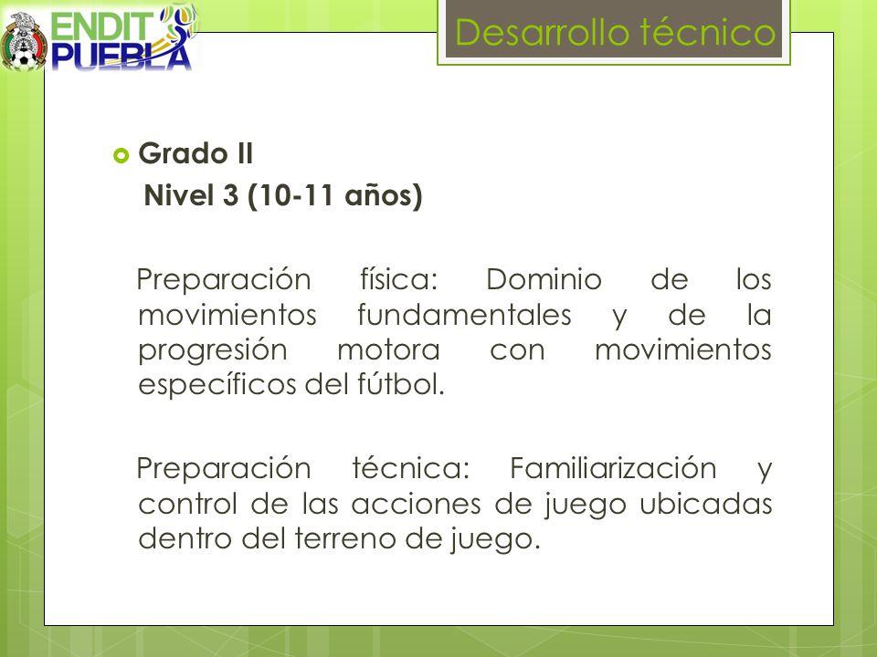 Desarrollo técnico Grado II Nivel 3 (10-11 años) Preparación física: Dominio de los movimientos fundamentales y de la progresión motora con movimientos específicos del fútbol.
