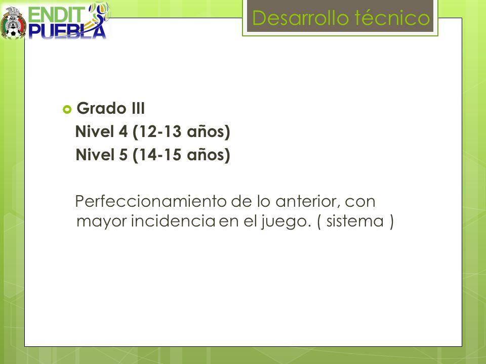 Desarrollo técnico Grado III Nivel 4 (12-13 años) Nivel 5 (14-15 años) Perfeccionamiento de lo anterior, con mayor incidencia en el juego.