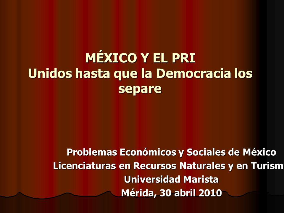 MÉXICO Y EL PRI Unidos hasta que la Democracia los separe Problemas Económicos y Sociales de México Licenciaturas en Recursos Naturales y en Turismo U
