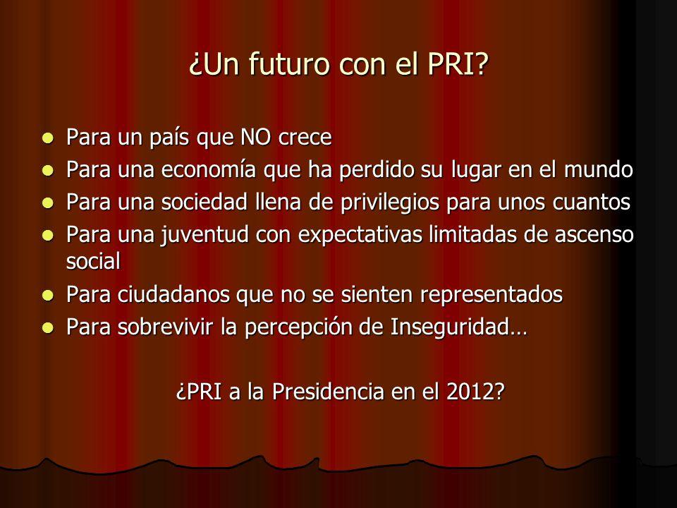 ¿Un futuro con el PRI? Para un país que NO crece Para un país que NO crece Para una economía que ha perdido su lugar en el mundo Para una economía que
