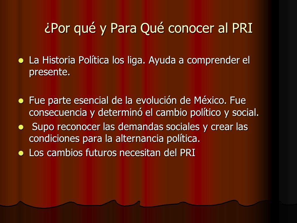 ¿Por qué y Para Qué conocer al PRI La Historia Política los liga. Ayuda a comprender el presente. La Historia Política los liga. Ayuda a comprender el
