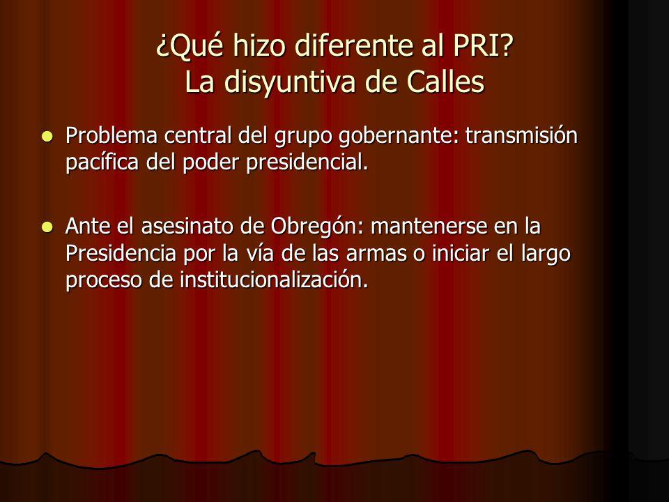 ¿Qué hizo diferente al PRI? La disyuntiva de Calles Problema central del grupo gobernante: transmisión pacífica del poder presidencial. Problema centr