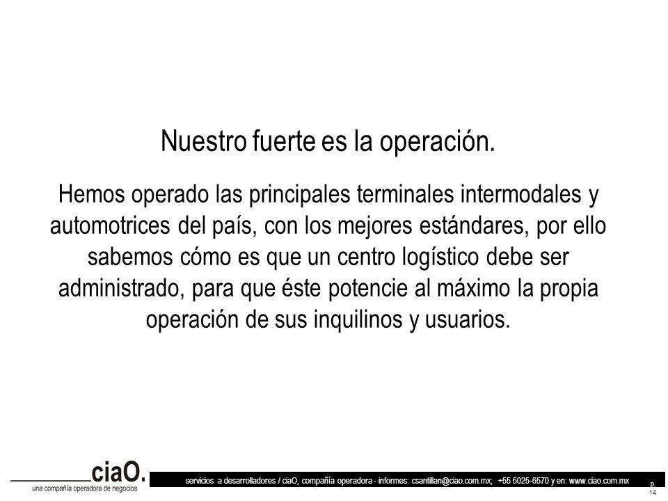 servicios a desarrolladores / ciaO, compañía operadora - informes: csantillan@ciao.com.mx; +55 5025-6570 y en: www.ciao.com.mx p. 14 Nuestro fuerte es