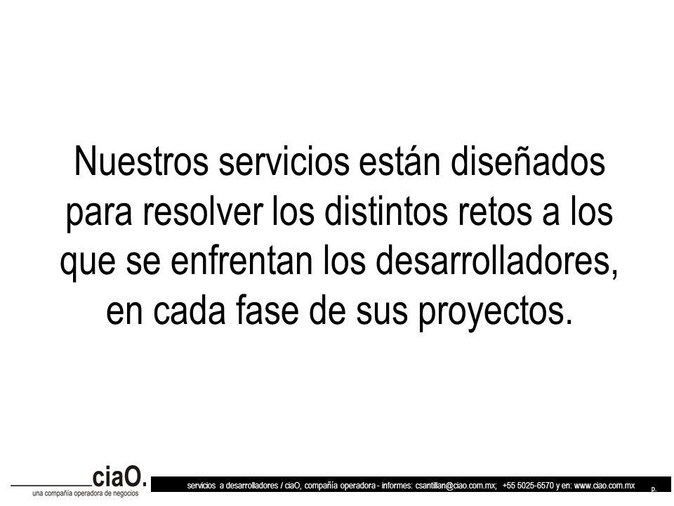 servicios a desarrolladores / ciaO, compañía operadora - informes: csantillan@ciao.com.mx; +55 5025-6570 y en: www.ciao.com.mx p. 2 Nuestros servicios