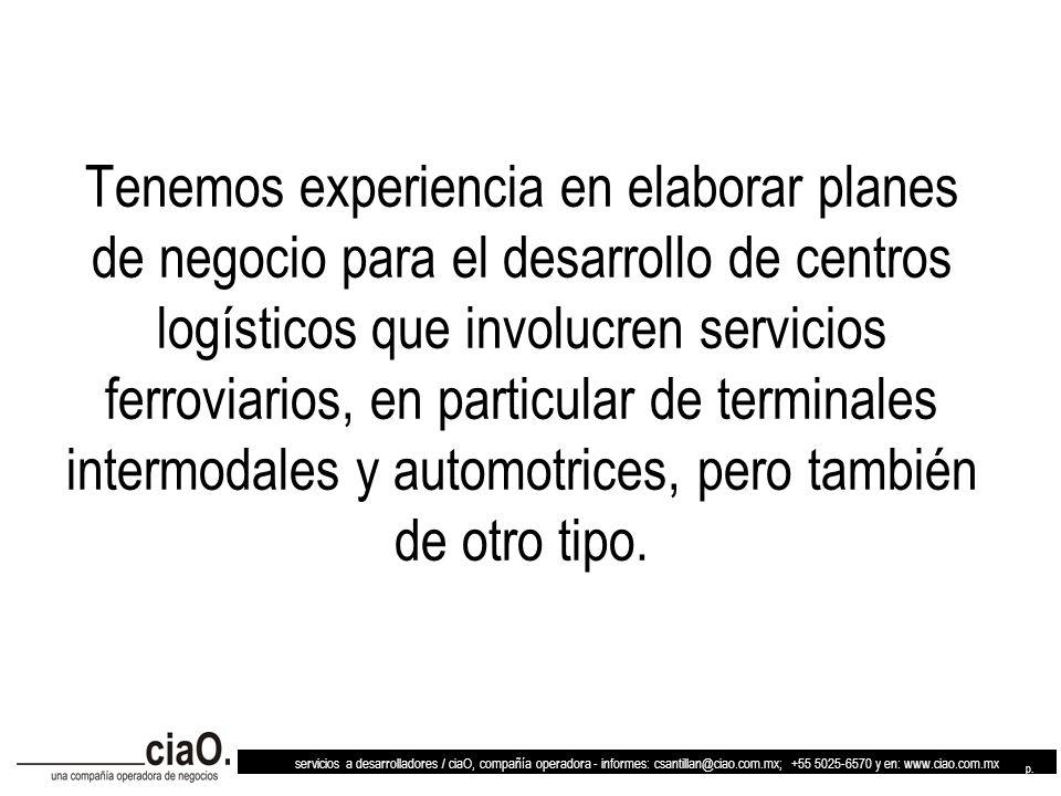 servicios a desarrolladores / ciaO, compañía operadora - informes: csantillan@ciao.com.mx; +55 5025-6570 y en: www.ciao.com.mx p. 6 Tenemos experienci