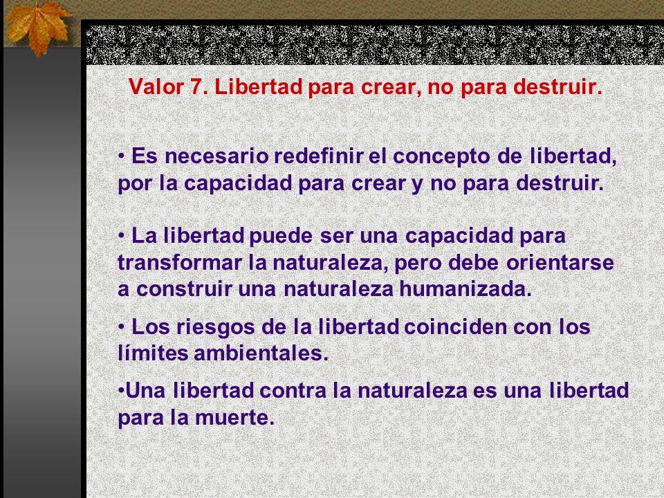 Valor 7. Libertad para crear, no para destruir. Es necesario redefinir el concepto de libertad, por la capacidad para crear y no para destruir. La lib