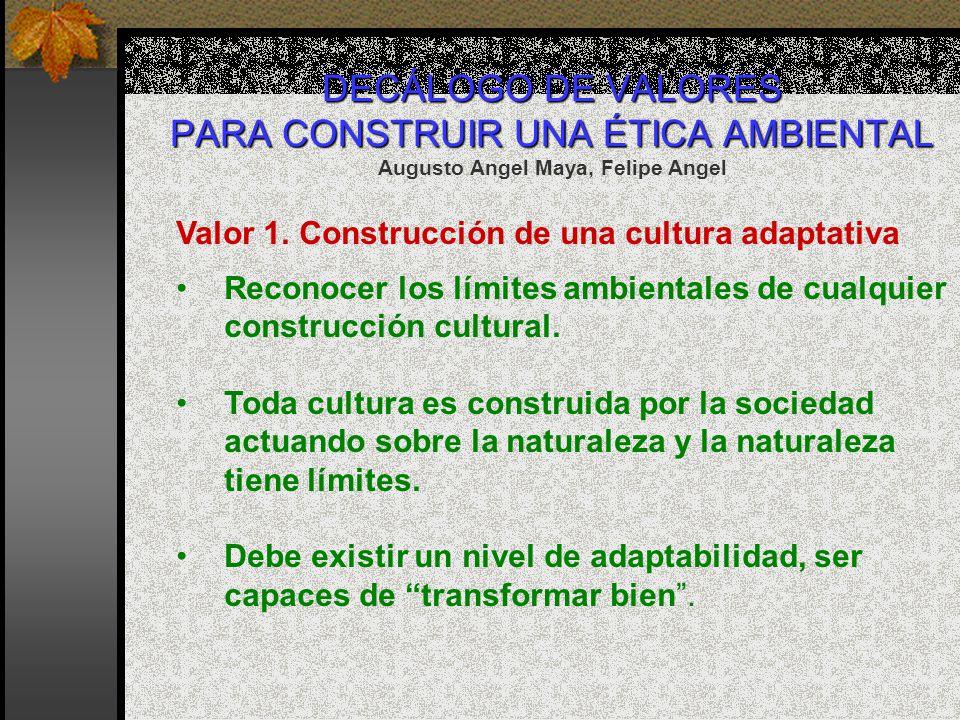 DECÁLOGO DE VALORES PARA CONSTRUIR UNA ÉTICA AMBIENTAL DECÁLOGO DE VALORES PARA CONSTRUIR UNA ÉTICA AMBIENTAL Augusto Angel Maya, Felipe Angel Valor 1