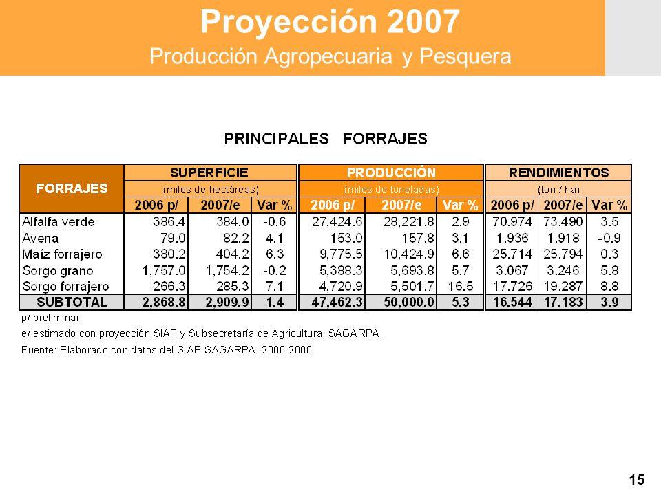 Proyección 2007 Producción Agropecuaria y Pesquera Proyección 2007 Producción Agropecuaria y Pesquera 15